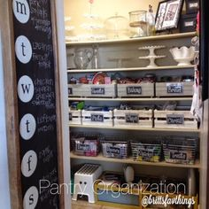 Pantry Organization, wire baskets and boxes and chalkboard menu inside door are great ideas!