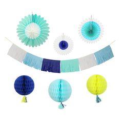 Blue Decorating Kit Pinwheels, Honeycomb balls, banner, dark blue, light blue, green, white