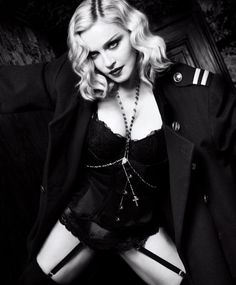 Madonna in a Christian Dior vintage jacket; La Perla briefs; and her own garter belt and rosary necklace. photographed by Luigi & Iango for Harper's Bazaar US, February Luigi, Harpers Bazaar, Wolford Stockings, Stella Mccartney Bra, Madona, Material Girls, Vintage Jacket, Mannequins, Madonna 80s