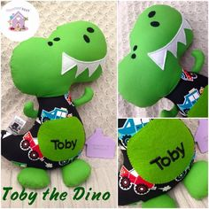 These roar-some fellas are the HTS Big Happy T-Rex Dino! Big happy T-Rex Dinos are 17 inches tall and will be made from designer fabrics plus personalising Dolls And Daydreams, Handmade Soft Toys, Dress Up Dolls, Small Baby, Color Names, T Rex, Softies, Baby Toys, Fabric Design
