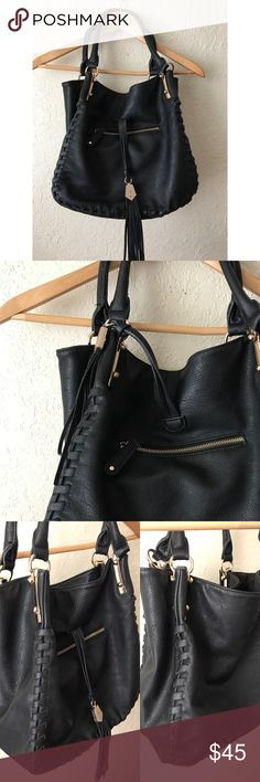 """Big Buddha Black Shoulder Bag, 12""""x 12"""" Nice Big , lots of room inside & a comfortable shoulder bag, black vegan leather ,  no flaws , interior cloth with logo , bright so you can see items. 12"""" X12"""" plus 6"""" width , 9"""" straps. Excellent condition , by Big Buddha , Macy's Big Buddha Bags Shoulder Bags"""