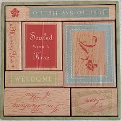 All Night Media Anna Griffin Sealed with a Kiss 8 Wood Mounted Rubber Stamps Tag #AllNightMedia #annagriffin #rubberstamp