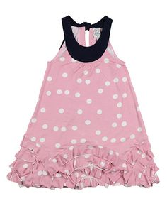 Imoga Pink Polka Dot Ripple Dress - Toddler & Girls   zulily