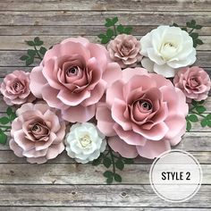 paper flowers wedding This listing is for an 8 piece rose set that ranges from 14 to 2 Large Roses 2 Medium Roses 4 Small Roses Leaves included The style of the rose reflec Paper Flower Wall, Paper Flower Backdrop, Giant Paper Flowers, Flower Wall Decor, Diy Flowers, Floral Flowers, Fabric Flowers, Pot Mason Diy, Mason Jar Crafts
