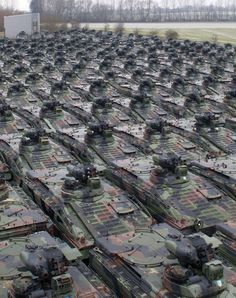 Marder type infantry fighting vehicles of the German Army are parked on the grounds of the Battle Tank Dismantling company, which specialises in the scrapping of military technology, in Rockensussra, eastern Germany