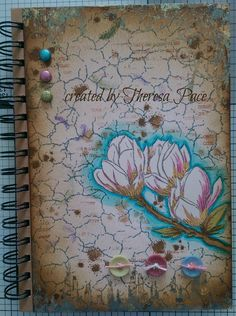 altered notebook using Sheena Douglass stamps