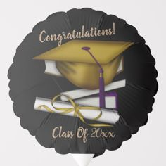 Shop Reversible Black & Gold Cap & Diploma Balloon created by BlueRose_Design. Helium Gas, Black Gold, Black And White, Fun Group, Custom Balloons, Gold Caps, Party Napkins, White Caps, School Colors
