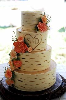Cup a Dee Cakes Blog: Birch Wood Grain Wedding Cake