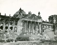 This picture of the Reichstag was taken after the end of the war, and shows the extent to which the building was damaged. Following a fire in 1933, the building was further damaged during the war by Allied bombing raids, and even more extensively during the Battle of Berlin. Interestingly, while the Reichstag was a symbol representing the enemy to the Allies, the Nazi government rarely met in the structure. The building was captured over the course of three days of fierce fighting.