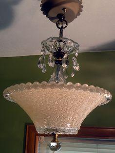1930u0027s Art Deco Victorian Ceiling Light Fixture Chandelier Candlewick Rim    EBay