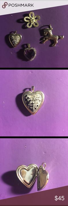 VARIOUS PENDANTS FOR NECKLACES/ CHARM BRACELETS  Take all for $45.00 or sold separately. Horse is sterling silver, priced for $16. Black and white heart shaped pendent priced for $15. Flower and other Purple Heart priced at $15. Take one or take all. Comment and like and share. Jewelry Necklaces
