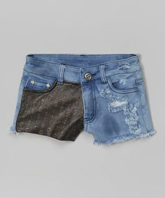 Blue & Black Studded Denim Shorts #zulily #zulilyfinds