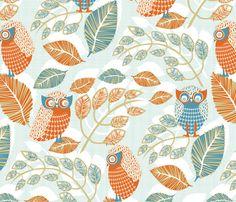 Ha_Ha__Ho_Ho__He_He__Laughing_Owls fabric by niceandfancy on Spoonflower - custom fabric