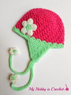 My Hobby Is Crochet: Blooming Strawberry Baby Earflap Hat 0-3 mo – Free Crochet Pattern