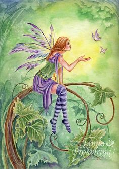 """Fairy in purple sitting on a spiraling branch ... """"Gardens of Summer"""" by ~Kuoma on deviantART"""