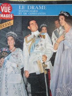 Noblesse et Royautés:  Cover of Pointe de Vue-Queen Frederika, King Constantine and Queen Anne-Marie with Anne-Marie's parents Queen Ingrid and King Frederik of Denmark behind them