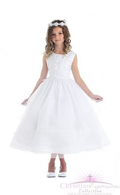 75b5bbf1168 First Communion Dress with Lace and Subtle Sparkle Holy Communion Dresses, First  Holy Communion,
