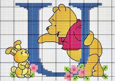 #Monograma Ursinho Pooh - letra U #bordado #CoatsCorrente