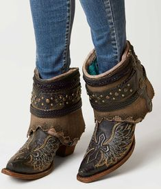 Corral Bone Flipped Ankle Cowboy Boot - Women's Shoes in LD Black | Buckle