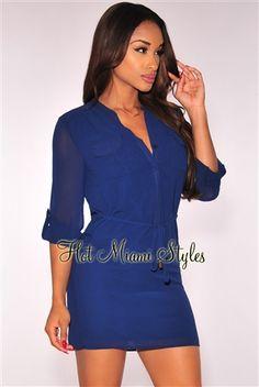 Navy Blue Drawstring Shirt Dress Womens clothing clothes hot miami styles hotmiamistyles hotmiamistyles.com sexy club wear evening  clubwear cocktail party kim kardashian dresses