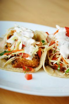 These were great! Fish Tacos. But I didn't have any filets. So I baked some frozen, breaded fish first, and used that. It was still wonderful!
