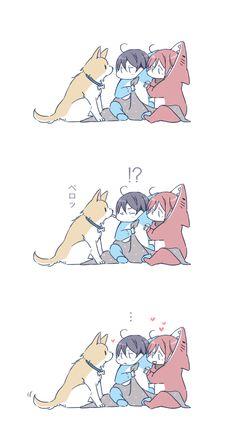 Puppy ...  Drawn by JUSTIS ...  Free! - Iwatobi Swim Club, free!, iwatobi,  rinrin, haru-chan, dog