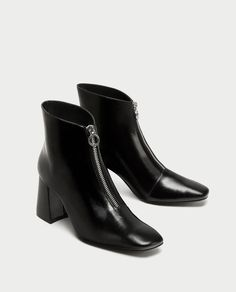 ZARA - TRF - CHUNKY HIGH HEEL ANKLE BOOTS WITH ZIP