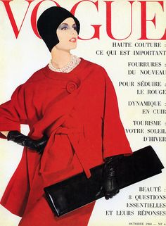 Dorothea McGowan wearing ensemble by Pierre Cardin, cover by Irving Penn, Paris Vogue, October 1960
