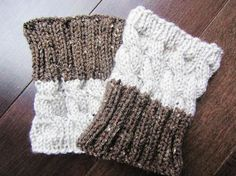 2 IN 1 - Hand Knitted Boot Cuffs - 2 COLORS, 2 PATTERNS