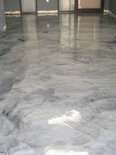 Metallic silver concrete floor at Boulder, Colorado tech consulting company. Metallic pigments in polyaspartic floor coating. ( one of the considerations to be made for my concrete flooring! Painted Concrete Floors, Painting Concrete, Stained Concrete, Concrete Color, Concrete Countertops, Basement Flooring, Basement Remodeling, Flooring Ideas, Garage Boden