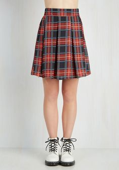 Park Movie Marathon Skirt in Red Plaid, #ModCloth