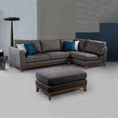 New Hampton Corner 3 Seater High Density Foam Grey Sofa With Chair & Ottoman Corner Sofa 3 Seater, Grey Corner Sofa, Gray Sofa, 3 Seater Sofa, Sofa Bed, Sectional Sofa, Couch, Leather Chaise Sofa, New Hampton