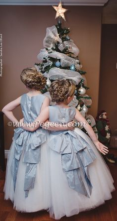 Custom Flower Girl Dresses Style 402 in powder blue silk with a Cinderella sash and glitter tulle in silver Winter Flower Girl, Flower Girls, Flower Girl Dresses, Navy Bridesmaid Dresses, Bridesmaid Flowers, Bridesmaids, Wedding Dresses, Dusty Blue Weddings, Winter Wonderland Wedding
