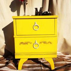 Vintage yellow nightstand $115 - Huntington Beach http://furnishly.com/vintage-yellow-nightstand.html