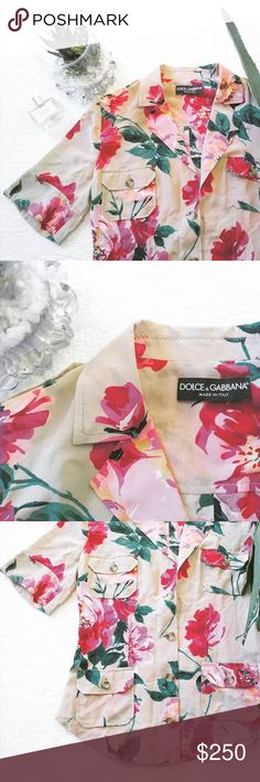 $1,250 DOLCE & GABBANA SILK FLORAL BLOUSE Safari style authentic floral Dolce & Gabbana button down blouse! Looks brand new! Over $1,000 off retail! Size 4😍 Dolce & Gabbana Tops Button Down Shirts