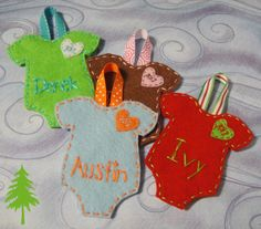 Handmade Baby Christmas Ornament: Baby's First Christmas Felt Onesie Ornament with Name and Year