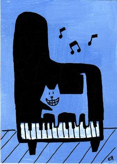 let's make some music e9Art ACEO Cat Piano Art Painting Humor Cartoon Illustration Drawing Line