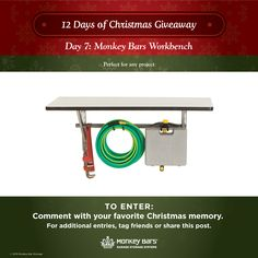 Day 7: Monkey Bars Workbench. What projects will you finish here?   Enter to win on our Facebook page!