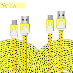 Foolly USB Cable Flat Braided Fast Charge & Data Sync for Android Phones (Yellow) Android Phones, Computer Accessories, Cable, Usb, Flat, Yellow, Amazon, Cabo, Bass