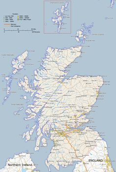 Map of Scotland Showing Major Towns and Roads