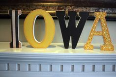 IOWA Wooden Vintage Shelf/Mantle Letters for the University of Iowa