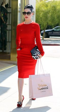 Dita Von Teese in red classic dress and just look at those shoes !!