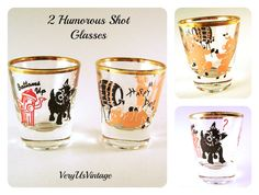 Items similar to Vintage shot glass pair humorous pink pigs Happy Days and black scotty dog with red hydrant Bottoms Up Gold rimmed top Collectible retro bar on Etsy Etsy Vintage, Vintage Decor, Scottie Dog, Shot Glasses, Cute Pink, Happy Day, Feathers, Great Gifts, Childhood