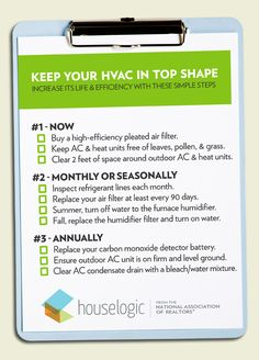 Checklist for HVAC Maintenance. E & Q Heating & Cooling can help KC residents stay comfortable and up-to-speed with annual heater maintenance. http://www.eandqcomfort.com/