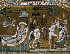 Joseph's Dream and the Flight into Egypt / El sueño de José y la Huida a Egipto // 1140-1170 // Mosaic / Sanctuary, south wall (detail) / Cappella Palatina, Palermo