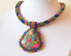 Beadwork Bead Embroidery Pendant Necklace with Rainbow by lutita, $100.00