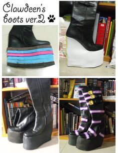 """WIP of Clawdeen Wolf's boots version 2.0 hehe! The previous one I used was borrowed from *suigeneres but she had to get them back so I had to buy one for my own this time. photo 1) 6 pairs of 1/2"""" ..."""
