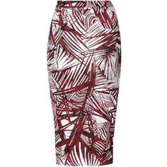 Burgundy Pencil Skirt With White Palm Print (2.325 RUB) ❤ liked on Polyvore featuring skirts, burgundy, fitted pencil skirt, fitted midi skirt, white skirt, patterned pencil skirt and knee length pencil skirt