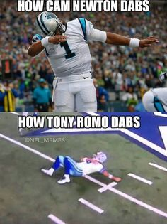 More - This picture is too funny to me. First off Cam Newton is my favorite player in the NFL while Tony Romo is the QB for my favorite NFL Team. Nfl Jokes, Funny Football Memes, Cowboys Memes, Funny Nfl, Basketball Memes, Funny Sports Memes, Funny Memes, Dallas Cowboys, Funny Quotes