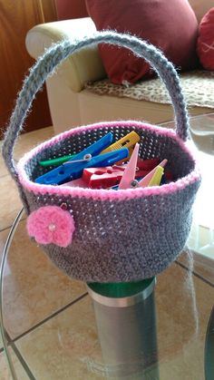 cesta para las trabas a crochet